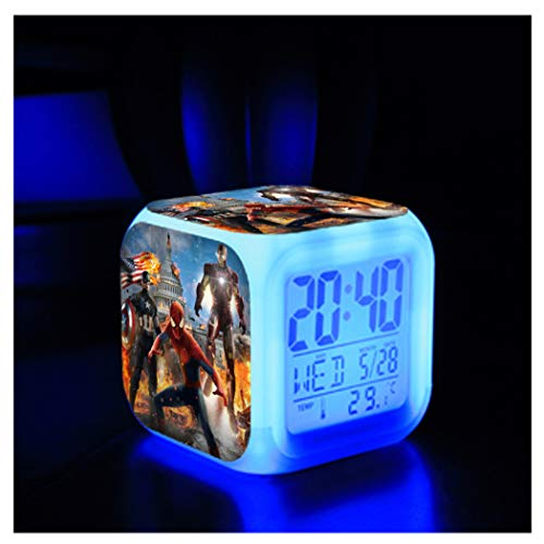 ZhangXF Superhero Captain America Alarm Clock, Creative 3D Stereo Small Alarm Clock LED Night Light Electronic Clock Bedside Clock Bedroom Birthday Gift,08