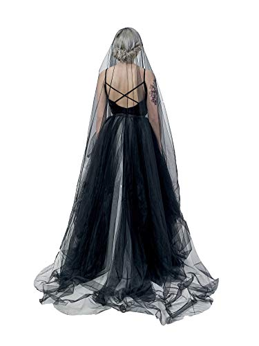 Super Long 5 Mitters 1 Tier Black Tulle Cut Edge Wedding Bridal Cathedral Veil Halloween Costume Photography Hair Accessory Headwear