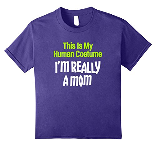 Kids This Is My Human Costume I'm Really A Mom Halloween T-Shirt 12 Purple (Matching Mom And Son Halloween Costumes)