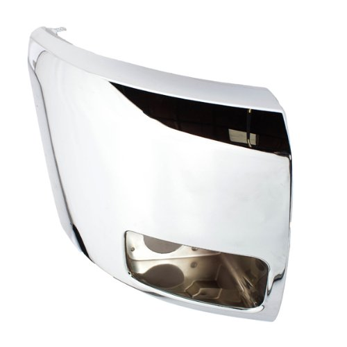 CarPartsDepot, Passenger Right Side Front Facial End Cover Extension With Fog Lamp Hole Chrome RH, 352-152238-12 GM1017108 15839252 (Right Front Cover)