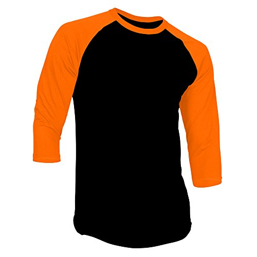 DealStock Men's Plain Raglan Shirt 3/4 Sleeve Athletic Baseball Jersey ,Black Orange ,Large -