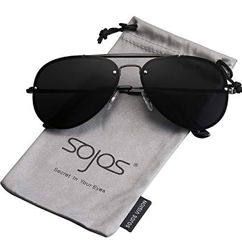 - SOJOS Rimless Aviator Sunglasses for Men and Women Metal Frame Mirrored Lens TRENDALERT SJ1105 with Black Frame/Grey Lens