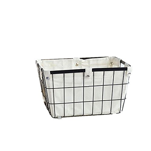 - DODXIAOBEUL Handmade Open Storage Bread Food Basket,Kitchen Cabinet and Pantry Storage Organizer Bin & Containers Two Cut Out Handles Wire Metal with Canvas Lining 13x10x7.5 Inches Black