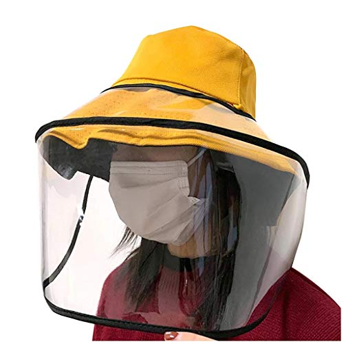 Quaanti Face Shield Mask Safety Mask 2020 Latest Protection Safety Full Face Shield Protective Hat for Men Women,Respirator Isolation Mask Anti-Dust,Anti-Fog,Anti-Spitting,Anti-Pollution (Yellow A)