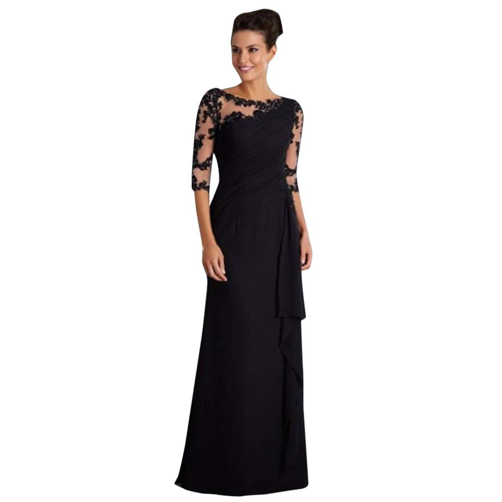 Women Formal Dress,Vintage Floral Lace 3/4 Sleeve Slim Ruched Wedding Maxi Dress Cocktail Prom Gowns Han Shi(Black,XL)
