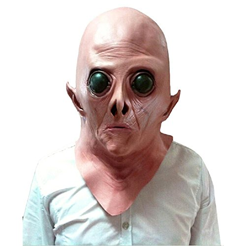 Aolvo Alien Mask Evil Eye Mask Weird Prank Stuff Full Face Overhead Mask Scary Creepy Halloween Costume Novelty Deluxe Vinyl Mask Cosplay Props for Adult Teen Men Women, 100% Safe to Skin ()