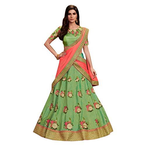 Green Silk Wedding Stylish Blouse Work Lehenga Chaniya Choli Party Net Dupatta Muslim Women Festival 7363