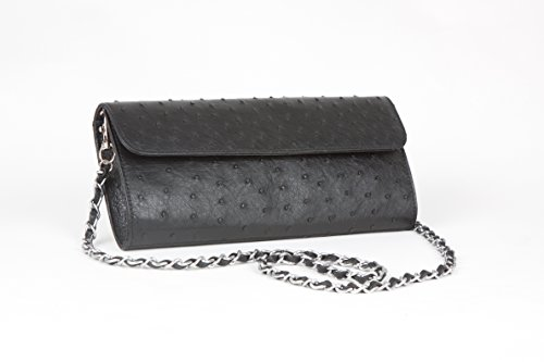 Karoo Collection Tokai Black 100% Authentic Free Range Ostrich Leather Clutch Handbag Made in South Africa by Karoo Collection