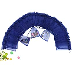 "Wuligirl 100 PCS Navy Blue Drawstring Organza Bags for Coins Pouch Gift Bags Lavender Coffee Beans Teas Nuts Seeds Jewelry Bags (100 pcs Navy Blue, 4x6"")"