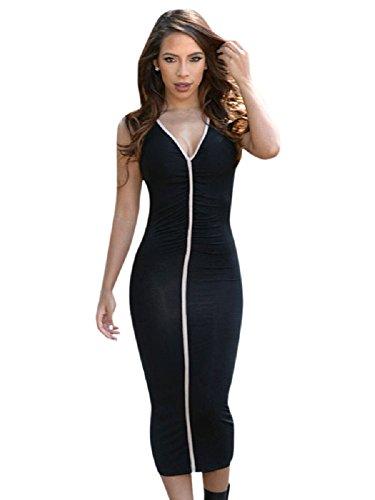 Negro 3/4longitud vestido con blanco Detalle Vestido Tamaño UK 10–�?2EU 38–�?0