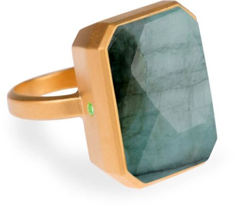Ringly Into the Woods - Emerald Size 8 - 18k Gold Plated Ring - Connects With iPhones 5 and Newer, Android Devices Running Android 4.3 and above
