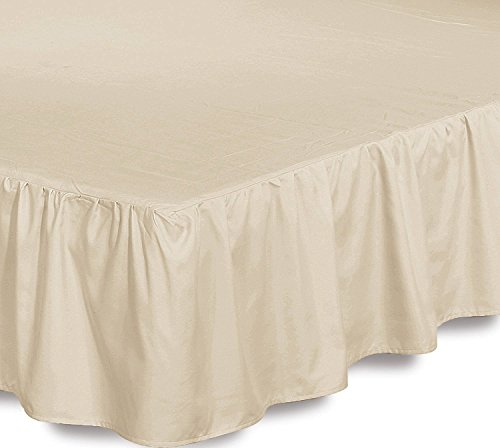 Bed Ruffle Skirt (Queen, Beige) Brushed Microfiber Bed Wrap with Platform - Easy Fit Gathered Style 3 Sided Coverage by Utopia Bedding