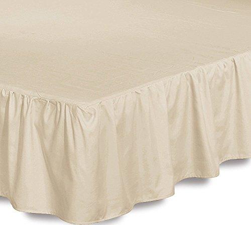 Bed Ruffle Skirt (Queen, Beige) Brushed Micro...