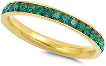Yelllow Gold Plated Simulated Emerald Band Stainless Steel Ring Sizes 4-10
