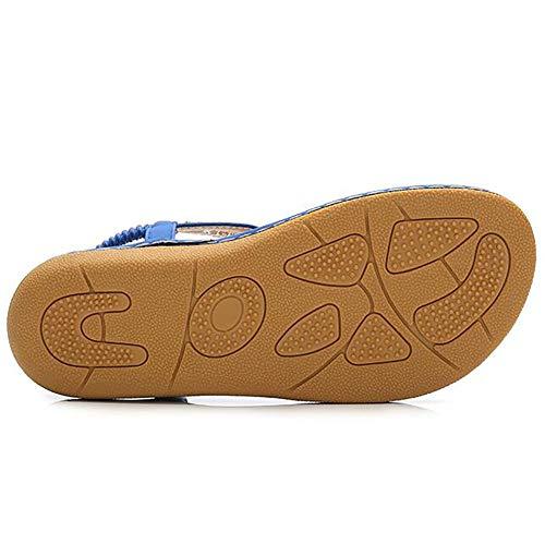 Sandales blue Femmes 42 Plat Cool Vacances Plage Shangly Et Chaussures Confortable Tongs Blue Bohème Sgntn