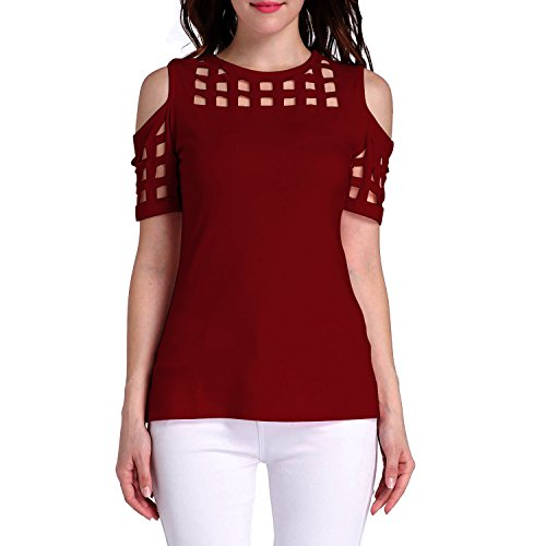 Tulucky Women's Cold Shoulder Hollow Out Tee Shirts Short Sleeve Casual Tops
