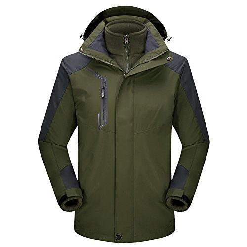 Jacket 1 Green Ski 3 Winter Spring Rain Jacket Waterproof Fleece LaoZan Autumn Hoodie in Coat SoftShell Army qUx7FHnwn1