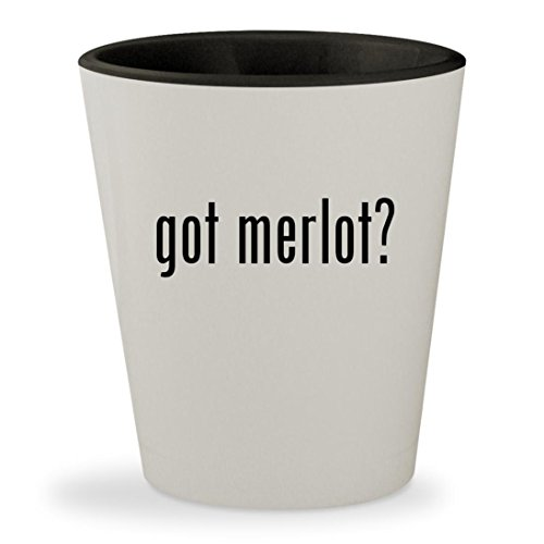 got merlot? - White Outer & Black Inner Ceramic 1.5oz Shot Glass