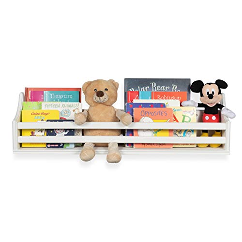 brightmaison Wooden Bunk Bed Shelf Bookcase and Bedside Storage for Children's Kids Room (White)