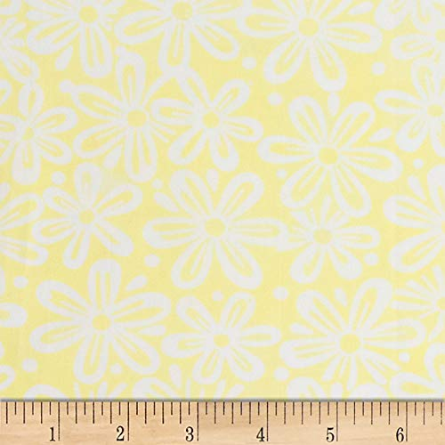 Northcott Banyan Batiks Feathers Large Floral Yellow/White, Fabric by the Yard