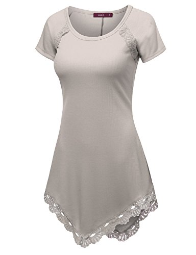 doublju-womens-short-sleeve-round-neck-lace-heming-asymmetrical-tunic-shirts-beige-xx-large