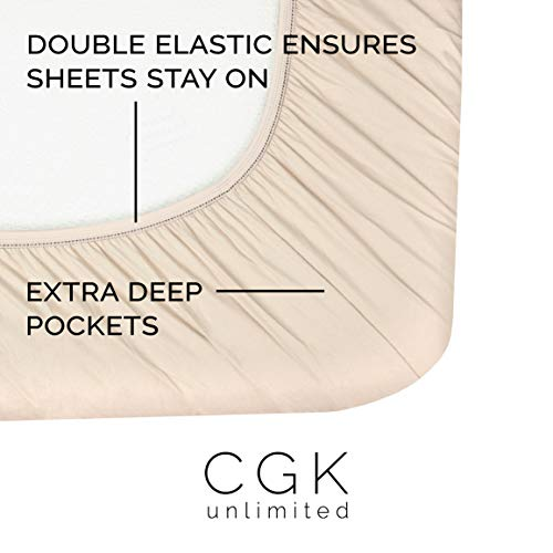 Full Size Sheet Set - 4 Piece - Hotel Luxury Bed Sheets - Extra Soft - Deep Pockets - Easy Fit - Breathable & Cooling Sheets - Wrinkle Free - Comfy - Beige Tan Bed Sheets - Fulls Sheets - 4 PC