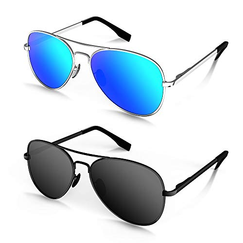 MOTOEYE Polarized Aviator Sunglasses for Kids Girls Boys Children Pack of 2 from 4 to 15 years old