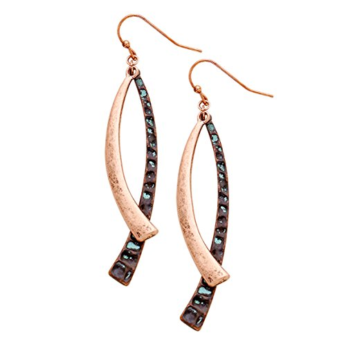 Indian Contemporary Dance Costume Ideas (Rosemarie Collections Women's Curved Style Copper Patina Color Dangle Earrings)