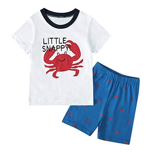 Children Comfort Shorts Set 2PCS Unisex Baby Cartoon Print T-Shirt Tops Boys Girls Short Sleeve Tee +Shorts Outfits 1-7Y White