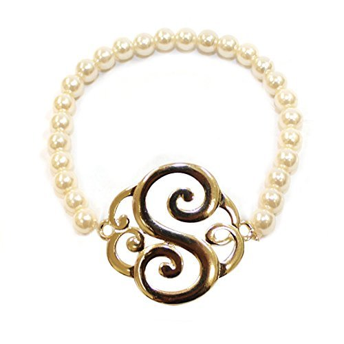 [S] Handmade Gift Initial Monogram with Pearl Stretch Bracelet - Pearl Initial Bracelet
