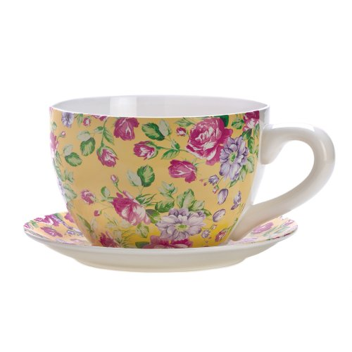 Herb Cup Saucer (Gifts & Decor China Rose Teacup Saucer Herb Planter Flower Plant Pot)