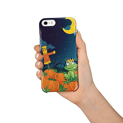 Compatible with iPhone 6 Case and iPhone 6s Case, Hard PC Back Phone Case with Tempered Glass Screen Protector The Frog Prince and Scarecrow at Night Shockproof Protective Cover