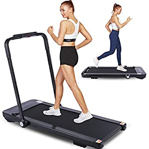 FUNMILY 2 in 1 Folding Treadmill for Home with Bluetooth Speakers, App & Remote Control, LCD Display, 2.25HP Electric Under Desk Treadmill, Portable Walking & Running Machine, Installation-Free