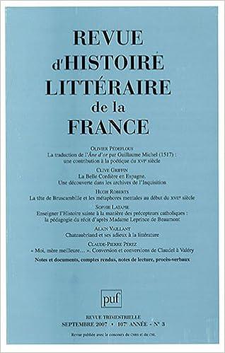 Download Revue d'histoire littéraire de la France, N° 3, septembre 2007 : epub, pdf