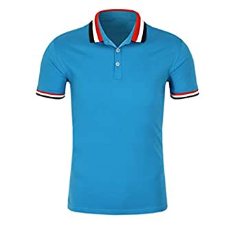 SanVera17 Men Casual Classic Retro Tri-Color Collar Solid Color Polo Shirts Cotton Short Sleeve T-Shirt - Blue - Small