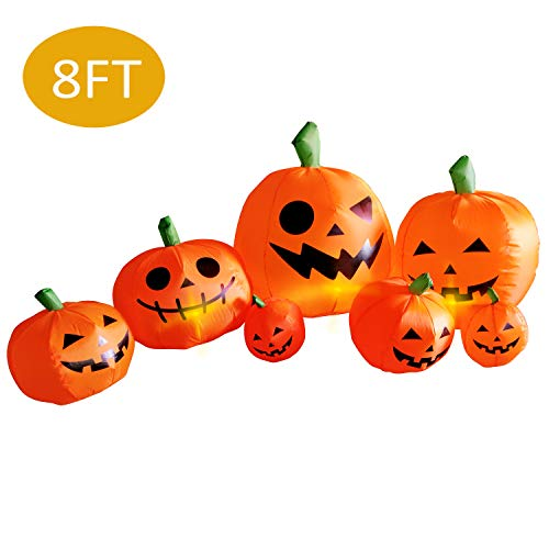 Scary Pumpkins For Halloween (AmazingValueDeal Halloween Inflatable Pumpkin Decorations - Outdoor Yard Large Scary Halloween Party Decor - Blow up Jack-O-Lanterns Giant Garden Decoration -)