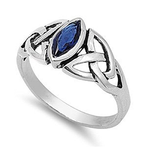 Sapphire Celtic Bands (Marquis Simulated BLUE SAPPHIRE Sterling Silver CELTIC KNOT Ring 5-10)