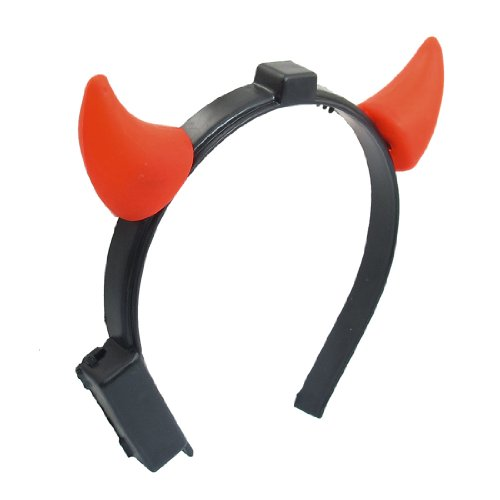 uxcell Halloween Christmas Costume LED Light Ladies Devil Horns Headband Accessory Red ()