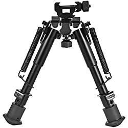 CVLIFE 6- 9 Inches Tactical Rifle Bipod Adjustable Spring Return with 360 Degree Swivel Adapter