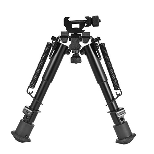 CVLIFE 6-9 Inches Tactical Rifle Bipod Adjustable Spring Return with 360 Degree Swivel Picatinny Adapter