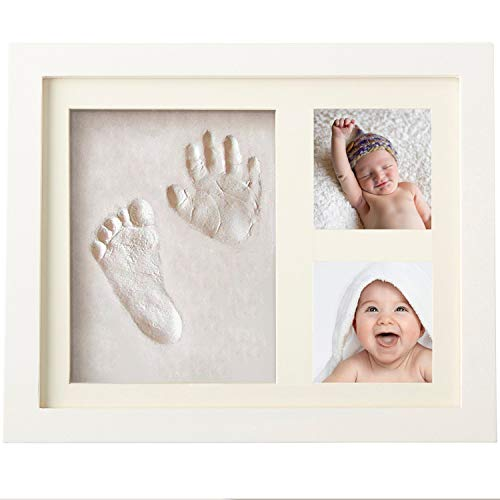 Bebe Vibes Baby Handprint and Footprint Kit, Newborn Boy and Girl DIY Photo Frame Keepsake Set, Unique Personalized Shower Registry or Baptism Gift with Box, Nursery and Children