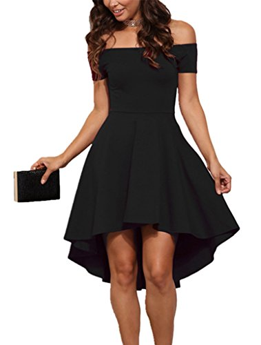 Sidefeel Women Off Shoulder Short Sleeve High Low Skater Dress Medium Black