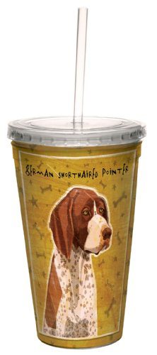 Tree-Free Greetings cc34023 German Shorthaired Pointer by John W. Golden Artful Traveler Double-Walled Cool Cup with Reusable Straw, 16-Ounce