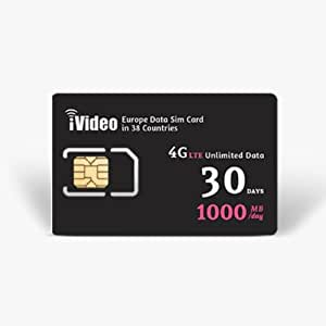Europe SIM Card Prepaid Unlimited Data 38 Countries 30 Days 1000MB in 4G Speed
