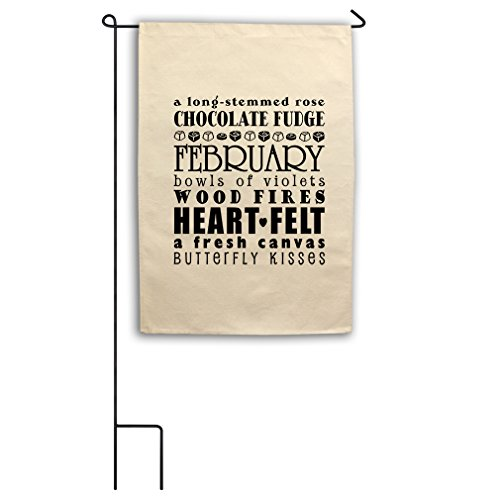 Long-Stemmed Rose Chocolate Fudged February Bowls Canvas Garden Flag 18
