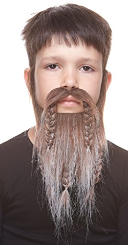 [Small Viking, Dwarf brown with gray fake beard, self adhesive] (Adult Brown Dwarf Costumes)