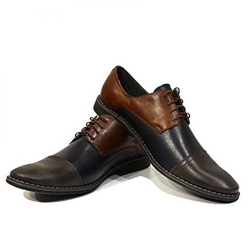 PeppeShoes Modello Patrizio - Handmade Italiano da Uomo in Pelle Blu Navy Scarpe da Sera - Vacchetta Pelle Morbido - Allacciare
