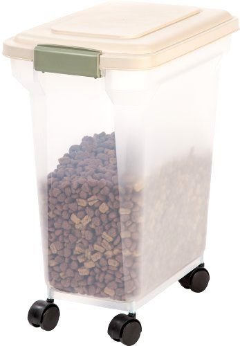 Dog Food Storage Container 28 Quart 20 pounds Rollers Pet Supplies Plastic New (Vintage Dog Food Container)