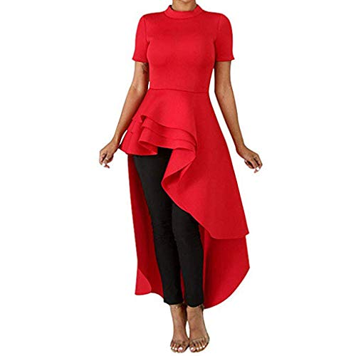 Irregular Dress for Women Party,ONLY TOP Women's Short Sleeve High Low Peplum Dress Irregular Gown Prom Club Dress Red (Adult Kitty Hello Swimsuit)