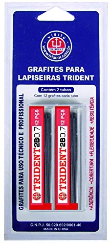 Grafite 2 Tubos com 12 Unidades de Grafites Cada, Trident, GRAF-2B07B, Preto, 0,7 mm, pacote de 2